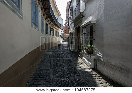 Old narrow street with photographer on a background in Barcelona, Spain