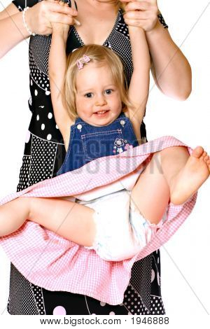 Girl Toddler Lifted By Mother