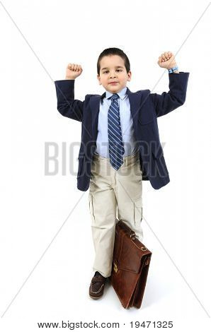 Little cute boy with big leather briefcase
