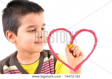Cute boy painting a red heart on glass. White background high resolution studio image.
