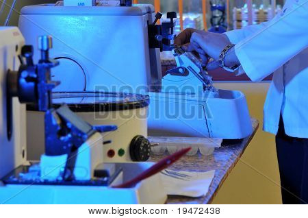 A pathologist working at pathology lab. A series of laboratory related pictures.