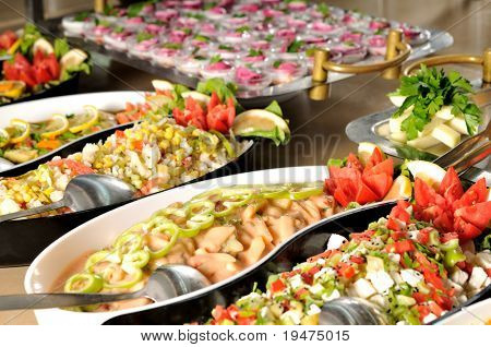 Catering food at a wedding party - a series of RESTAURANT images.