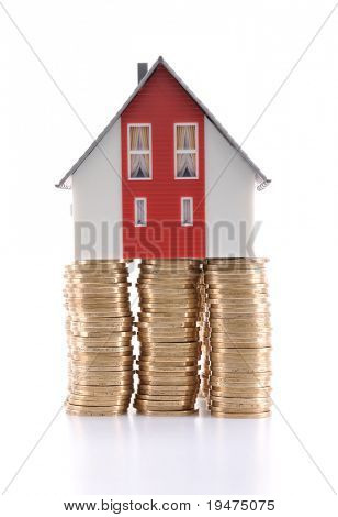 Real estate finance investment concept - a series of COIN HOUSE images.