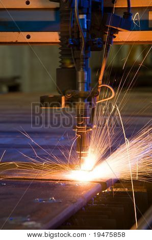 Cutting metal with plasma laser close up - a series of METAL INDUSTRY images.