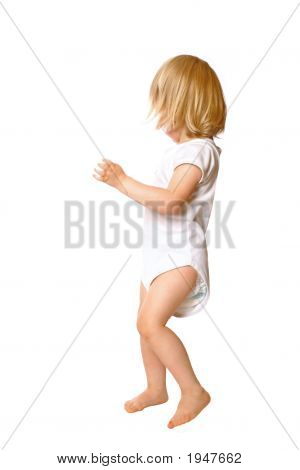 Little Toddler Girl Dancing Isolated