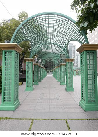 Long walkway in park
