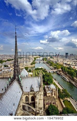 View on Paris from Notre Dame, France