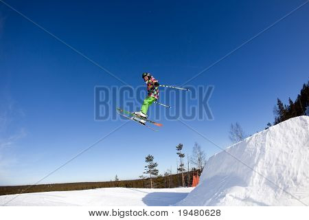 Flight Of Young Skier