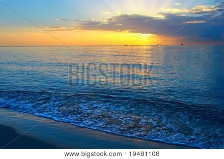 Sunrise over Atlantic ocean, Miami, FL, USA