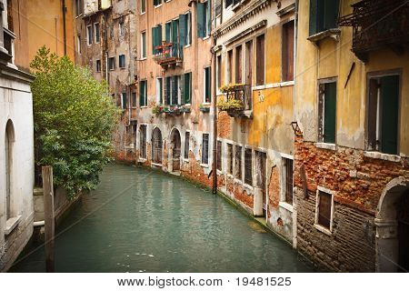 Old buildings on canal in Venice
