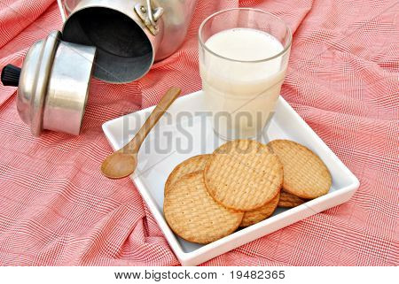 Still life of milk and cookies