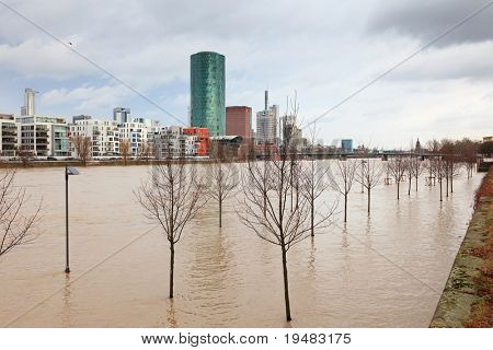 FRANKFURT- JANUARY 15: Flood in Frankfurt am Main due to extremely high water in Main river, January 15, 2011, Frankfurt.