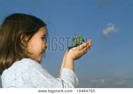 smiling child hands holding plant against clear blue sky