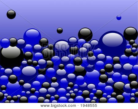 Black And Blue Bubbles On Blue