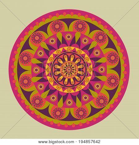 Illustration of colorful mandala design pattern on a grey background.