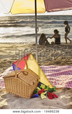 picnic basket, kite, blanket, parasol and family in background at he beach.