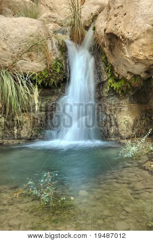 Small Waterfall in the desert in Nahal David near Ein Gedi, Israel