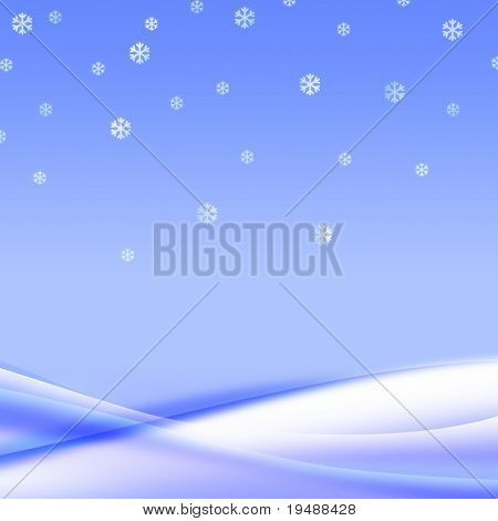 Fall snowflakes in a gentle snowdrift. Silent winter mood. It is a Beautiful background for your design. This illustration is drawn in photoshop