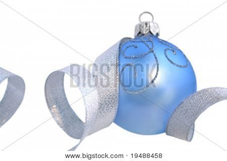 The christmas ball is isolated on a white background for your use. Good Christmas a composition. A light-blue baublel and silvery tape.