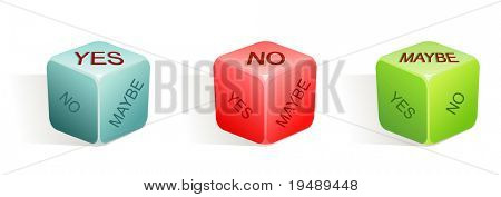 yes - no - maybe / vector illustration of dice with 3 options / 3 colors