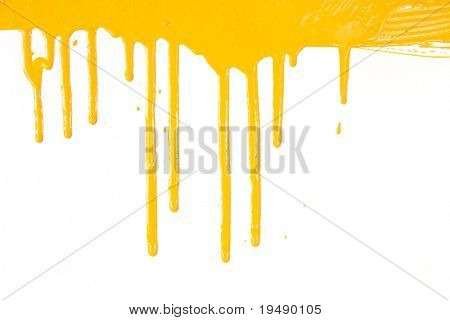Orange paint  dripping / isolated on white background with copy space / real photo