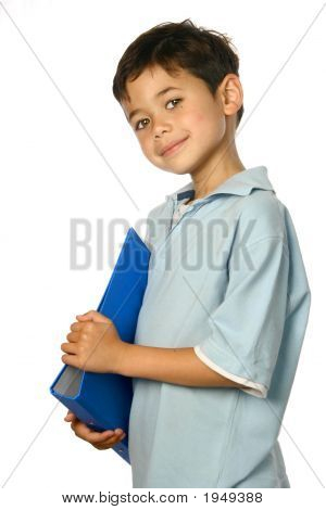 Young Schoolboy With Blue File Isoalted