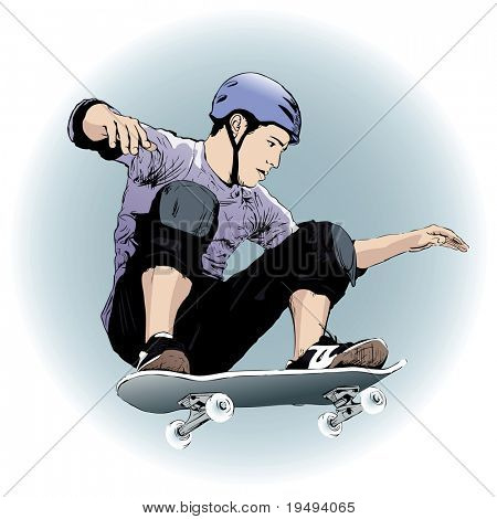 Vector illustration of a skateboarder
