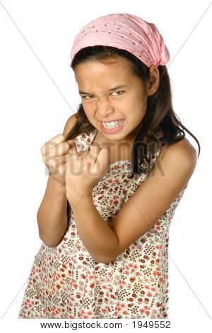 Dont You Dare! Girl With Both Hands In Fist