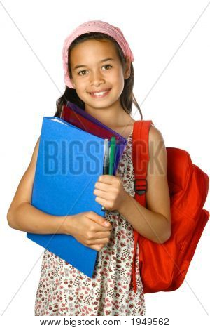 Young Schoolgirl With Folder And Red Rucksack