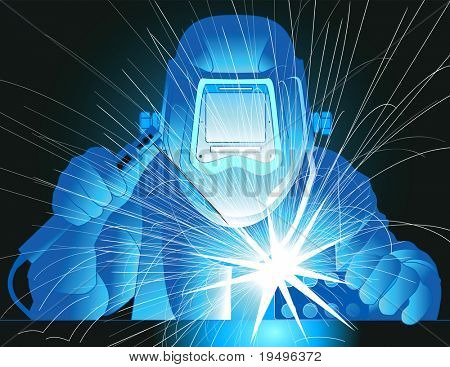 Vector illustration of a welder at work