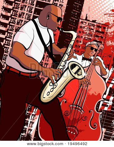 Vector illustration of a saxophonist and  bassist on grunge city background