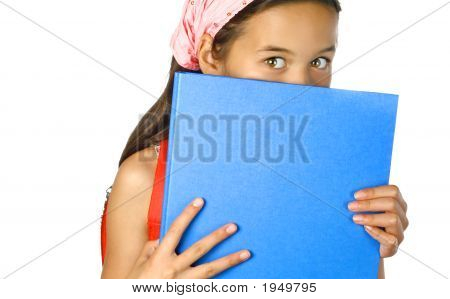 Young Schoolgirl Hiding Behind Blue Foldershowing Eyes