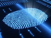 Fingerprint scanning technology on detail pixellated screen - 3d render