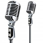 stock photo of membrane  - Retro Microphone in editable vector design - JPG