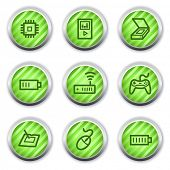 Electronics web icons set 2, green glossy circle buttons