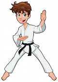 Young boy, Karate Player. Vector cartoon isolated character