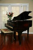 stock photo of grand piano  - A baby grand piano isolated against a window - JPG