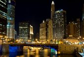Chicago at night, IL, USA