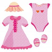 stock photo of babygro  - Baby set for girl  - JPG