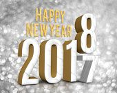 Happy New Year 2018 (3D Rendering)  Change Year From 2017 On Silver Glitter Bokeh Lights Background, poster