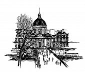 Постер, плакат: Векторная Иллюстрация «le pont des arts» в Париже рука рисунок