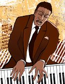 Vector illustration of a pianist on grunge background