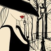 Vector representation of a woman in Paris Montmartre