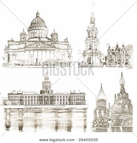 Collage Of Architectural Symbols Of St. Petersburg