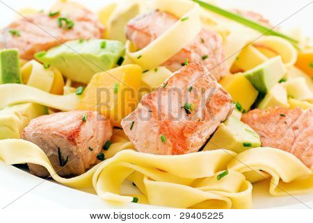 Tagliatelle with Salmon and Fruits