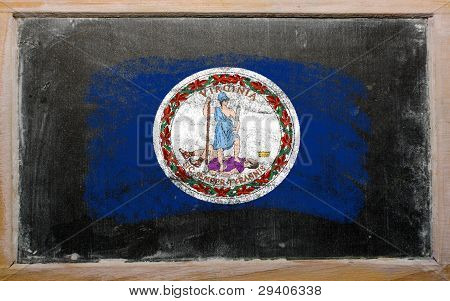 Flag Of Us State Of Virginia On Blackboard Painted With Chalk