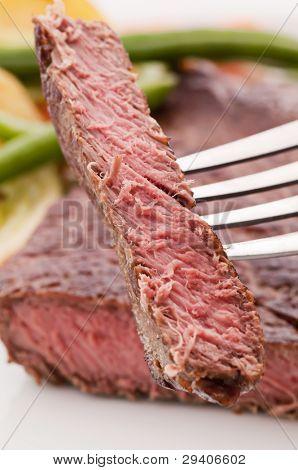 Beefsteak on Fork