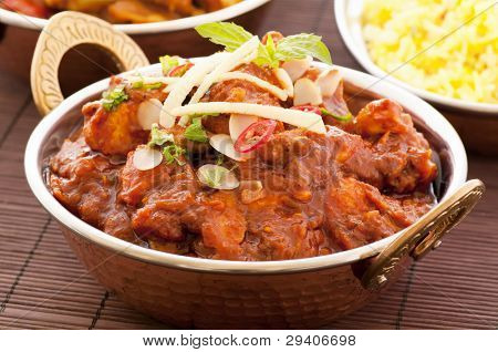 Chichen Madras with Rice as Closeup