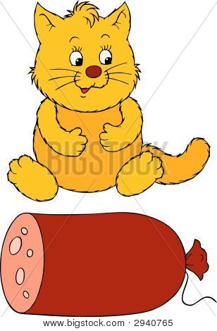 Fat Cat And Delicious Sausage