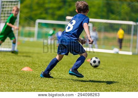 poster of Football Soccer Players Running With Ball. Footballers Kicking Football Match. Young Soccer Players